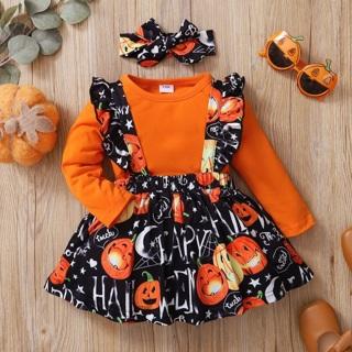 3 pcs Pumpkin Romper. Size 12-18 Months .