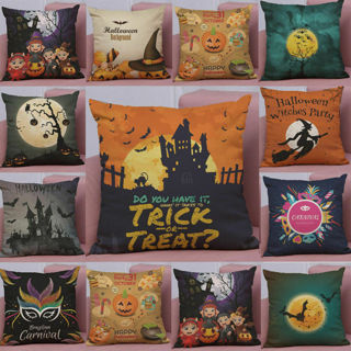 Halloween Pillow Case Linen Printed Decorative Cushion Cover for Library Bedroom