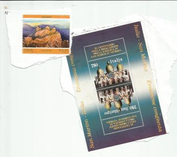 3 Used Italy Stamps on paper