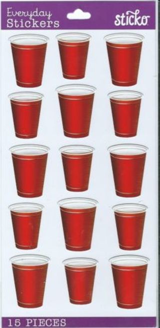 free 1 pkg sticko stickers party cups red solo cups stickers