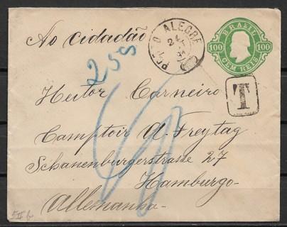 1891 Porto Alegre, Brazil cover mailed to Hamber, Germany