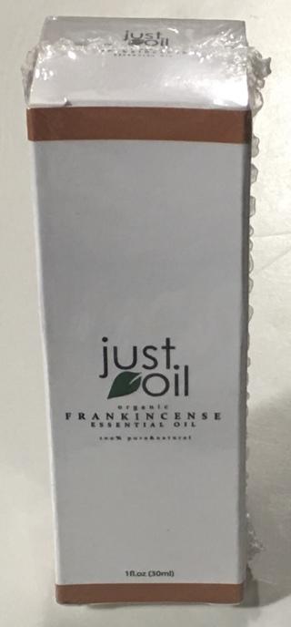 Just Oil - Organic Frankincense Essential Oil 100% Pure & Natural 1fl. oz. (30ml) - Brand New Boxed!