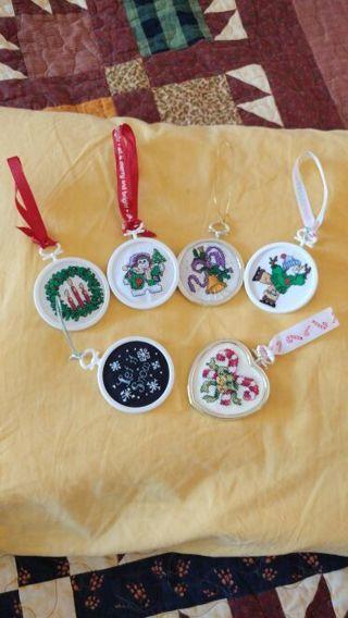Handmade cross stitch ornaments