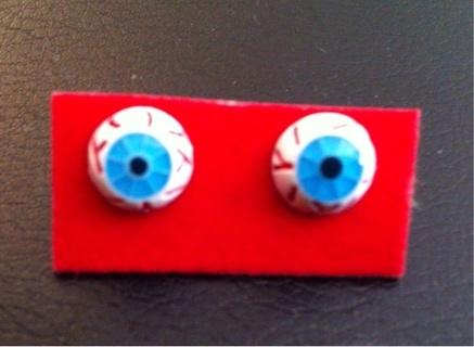 Punk Horror Movie Creepy Creepsville Rockabilly Bloodshot Eyeball Earrings Ear Rings Lowbrow Art