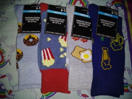 ❤✨❤✨❤4 BRAND NEW PAIRS OF KAWAII CREW SOCKS FOR HIM❤✨❤✨❤SIZES(6-12)