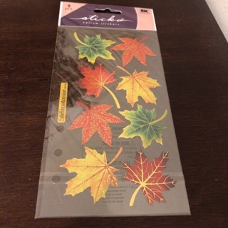 Sticking fall leaves stickers