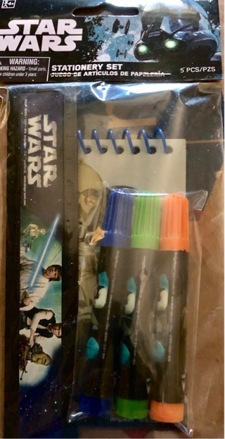 """BNIP Disney's: """"STAR WARS"""": 5 Piece Stationery Set! Ruler/Markers/Note pad"""