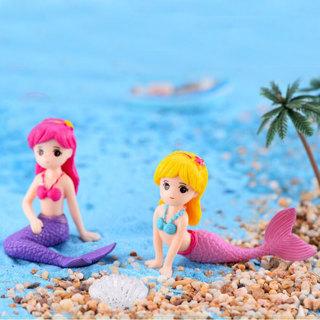 2Pcs Aquarium Fish Tank Cute Little Mermaid Ornament