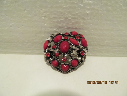 Rubie Red Colored Cabochons with Ruby Red Colored Rhinestones with Butterfly and 2 Flowers