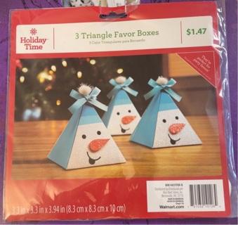 3 pc snowman favor boxes