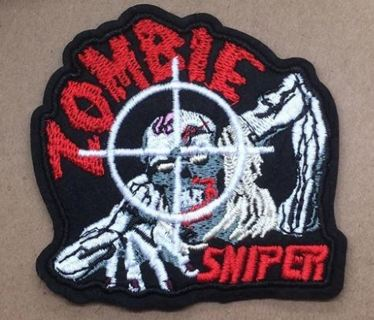 1 NEW ZOMBIE SNIPER PATCH IRON ON ADHESIVE EMBROIDERED FREE SHIPPING