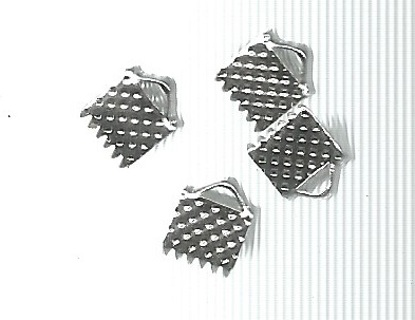 Two Silver Tone Clamp Ribbon End Clasps - Choice (see Note) of 6mm, 8mm, or 14mm