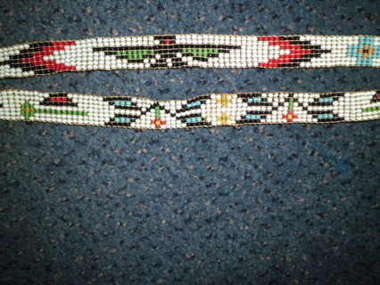 VINTAGE HAND BRADED NATIVE AMERICAN HEADBAND XLNT COND FREE SHIPPING!!