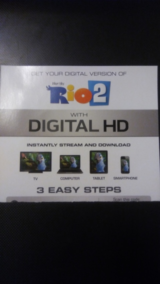 Rio 2 Movie Ultra Violet Digital HD Code