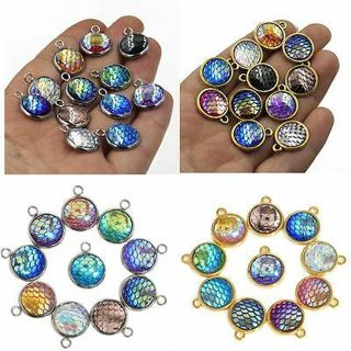 10X Resin Metal Mermaid Fish Scale Charms Pendant Jewelry Necklace DIY 12mm