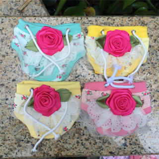 [GIN FOR FREE SHIPPING] Puppy Sweet Flower Sanitary Panty Lace Shorts Diaper Underwear