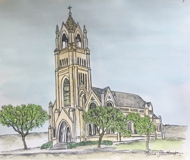 "St Patrick's in Galveston - 5 x 7"" art card by artist Nina Struthers - GIN ONLY"