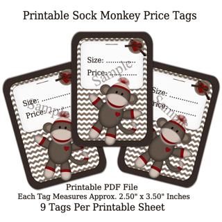 Printable Sock Monkey Price Tags