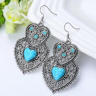 SHUANGR Vintage Heartstone Blue Natural Stone Double Heart Crystal Drop Earrings For Women Fine Je