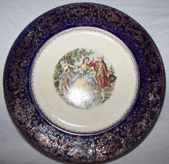 "Vintage Cobalt Imperial China 23k gold 11"" Service Plate by Salem Co."
