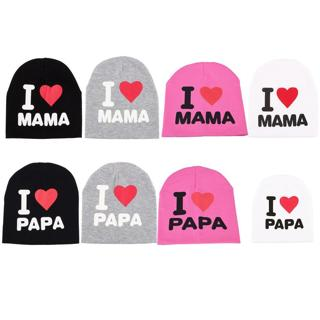 1PC Baby Infant Cotton Beanie Hat I LOVE MAMA/PAPA Cap 2018 New Fashion 3 Colors Cute Letter Print