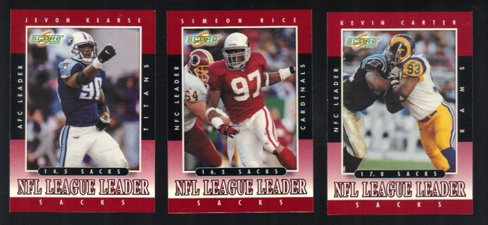 2000 Score Football 3 different Sack League Leader Cards - All Listed