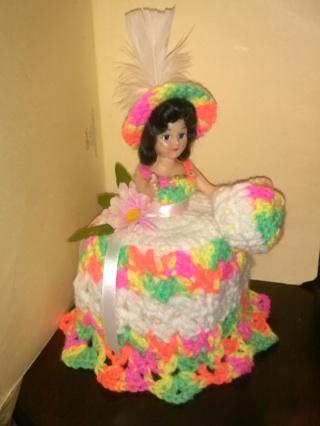 "Crochet Doll (B-991) Covers Bathroom Tissue -- ""Day Glow"" / White"