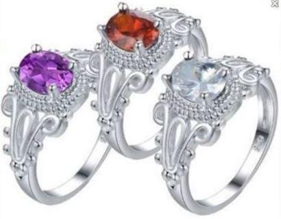 1 Elegant .925 Sterling Silver Filled Ring ~ CZ Diamond Ring Winner's Choice FREE GIFT BOX