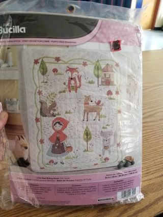 stamped cross stitch crib cover/quilt