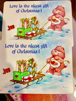 American Greetings Christmas Collectible Vintage New Care Bear Postcards - Great Holiday Cheer