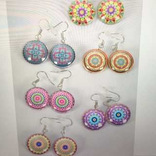 6 Pack Mandela Double Sided Glass Dome Earring Lot