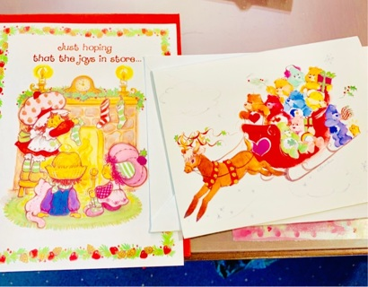 Extremely Rare Lot of 2 Christmas Greeting Cards: Embossed Strawberry Shortcake &  Care Bears