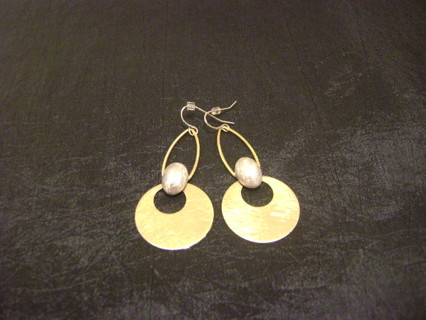 Nice Dangle Earrings French Hook Gold Tone