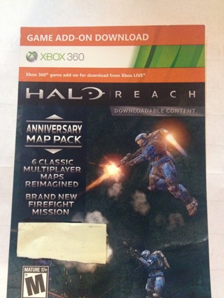 DLC HALO REACH ANNIVERSARY MAP PACK (XBOX 360) 6 MULTIPLAYER MAPS & NEW FIREFIGHT MISSION CODE ONLY