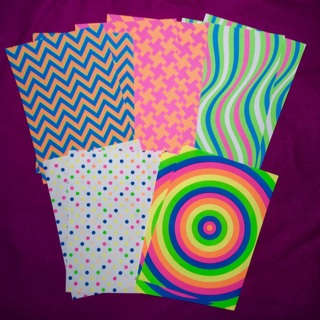 """10 New Sheets of 5""""x7"""" Neon Colors and Prints Paper."""