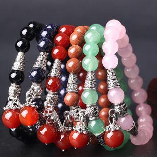 8mm Natural Round Stretchy Gemstone Stone Bead Women Men Bracelet Bangle Jewelry