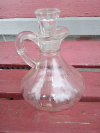 ANTIQUE. VINEGERET BOTTLE. 1930S. COMES WITH GLASS STOPPER...(NO NICKS. NO CRACKS)