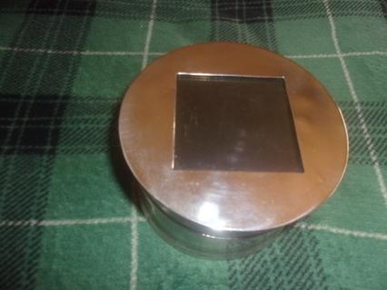 1950 - 1960 Vintage Antique Metal round storage, organizer storage box w/ Hinged Lid
