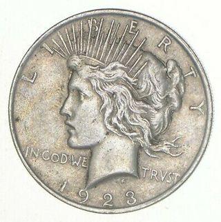 (1) VG+ 1923 American Peace Silver Dollar 90% US Coin Eagle Reverse Over 3/4 Oz