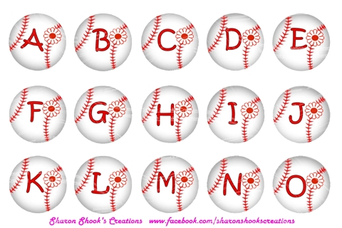 Free Bottle Cap Collage Girly Baseball Alphabet Scrapbooking