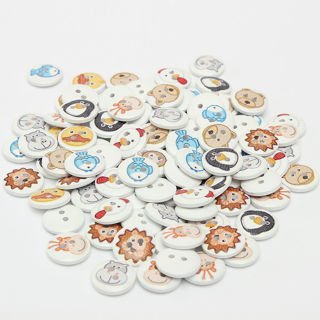 100PCs New 15mm Mixed 2 Holes Animal Round Wooden Button Sewing and Scrapbooking