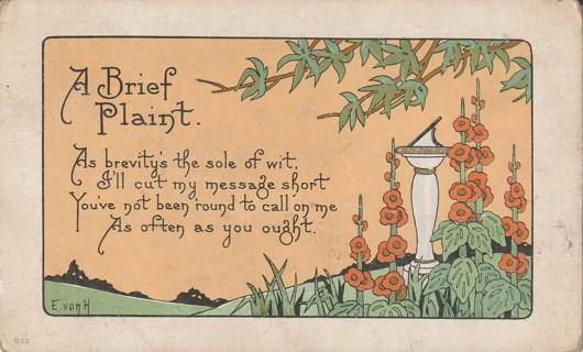 Vintage Used Postcard: 1917 A Brief Plaint