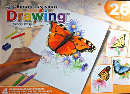 BRAND NEW - Royal & Langnickel DRAWING MADE EASY - 26 Pc - Butterflies Themed  FREE SHIPPING TO YOU!