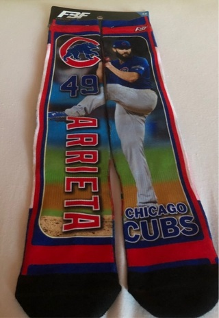 BNWT MLB / Chicago Cubs Logo & Jake Arrieta Long Socks. Size L. For Shoe Size 6-12