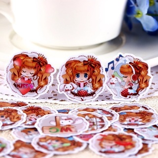 ☮ Golden Haired Anime Girl High End Kawaii Sticker Flakes Set of 10 BRAND NEW ☮