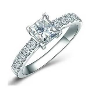 1 Carat princess cut Emerald and Diamond Halo Engagement
