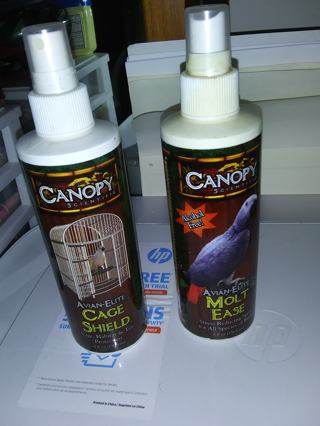 2 Bottles of Canopy Parrot Molt-Ease and Cage Shield Spray