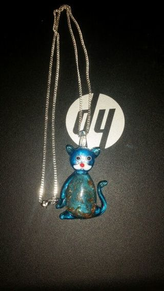 Adorable Glass cat necklace w/ s925 chain
