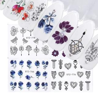 1 Sheet Sticker Water Decals Lace Flowers Nail Art Jewelry Decoration Nail Wraps Watermark Slider