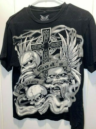 Cool Unisex Medium SKULLS AND CROSS GOD'S WARRIORS t shirt fb